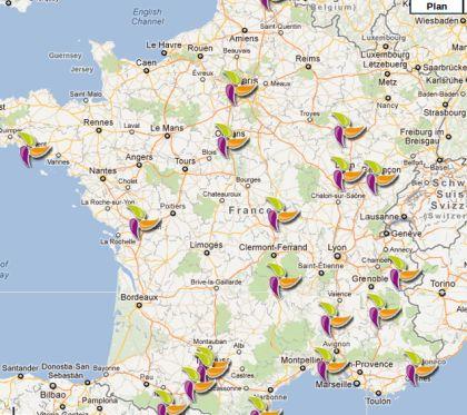 Carte Googlemap du réseau de distribution de Nheolis en France