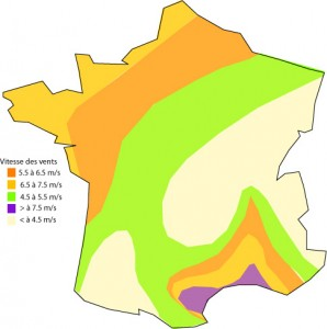 Carte des vents en France